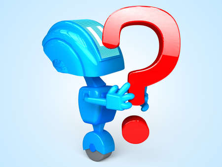 robot with question Stock Photo - 13778531
