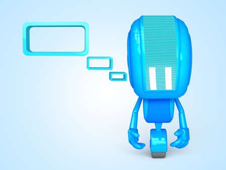 Sad Robot with bubble Stock Photo - 13778525