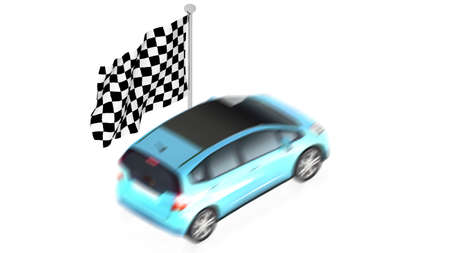 racing checkered flag crossed: Finish flag with car Stock Photo