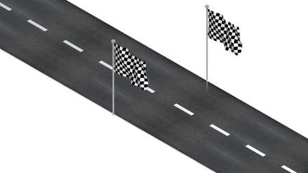 road with finish flag photo