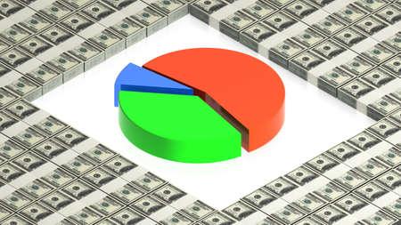 chart on paper dollars Stock Photo