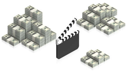 clapperboard with paper dollars