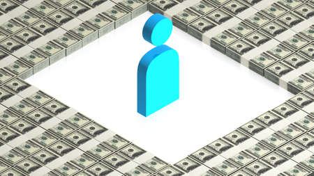 man icon with dollars Stock Photo