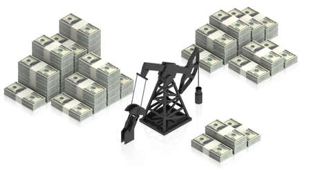 counterweight: oil derrick with dollars Stock Photo