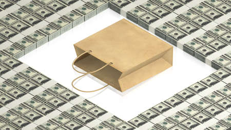 paper bag with dollars Stock Photo