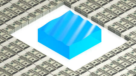 water block with dollars Stock Photo