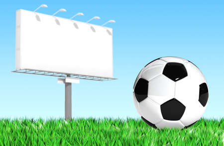 Advertising billboard with soccer ball photo