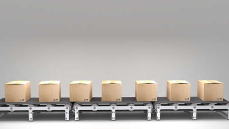 プレゼンテーション、マニュアル、デザインなどでの使用のためのカートン持つコンベヤ ・ ベルト