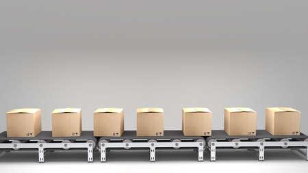 transportband met kartons voor gebruik in presentaties, handleidingen, ontwerp, etc