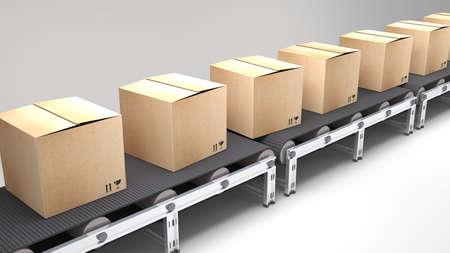 cinta transportadora: cinta transportadora con cajas de cartón para su uso en presentaciones, manuales, diseño, etc