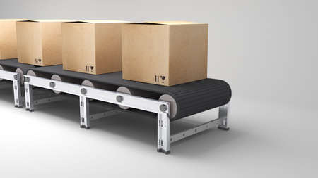 conveyor belt with cartons  for use in presentations, manuals, design, etc  photo