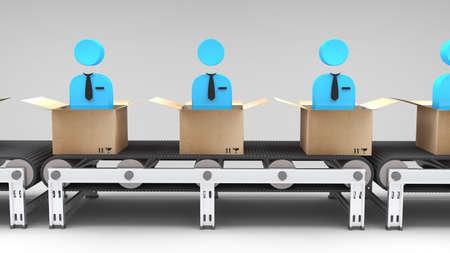 cinta transportadora: cinta transportadora con los nuevos empleados para su uso en presentaciones, manuales, diseño, etc Foto de archivo