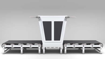 cinta transportadora: cinta transportadora con el transformador para su uso en presentaciones, manuales, diseño, etc Foto de archivo