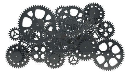 group of black gears for use in presentations, manuals, design, etc  photo
