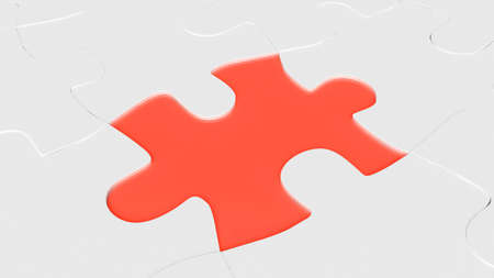 red puzzle element for use in presentations, manuals, design, etc  Stock Photo