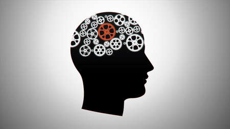Gears in head for use in presentations, manuals, design, etc.