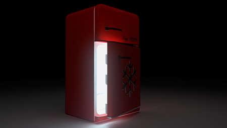 opened Retro Fridge refrigerator in red retro color.