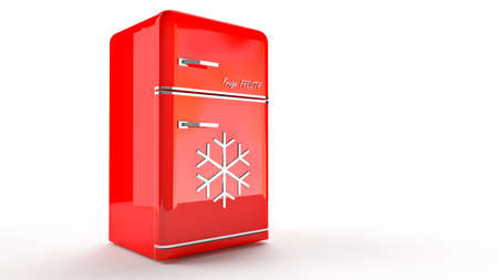 cooler boxes: Retro Fridge refrigerator in red retro color.