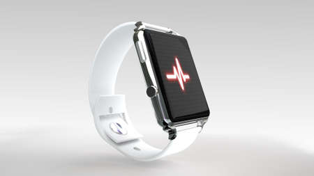 Close up blue smart watch with fitness app icon on the screen for use in presentations, education manuals, design, etc.