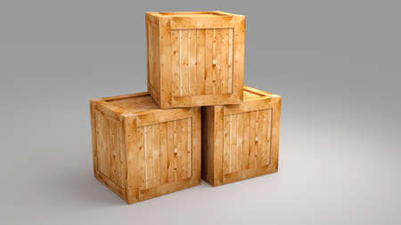 Wood box on greay background  for use in presentations, education manuals, design, etc.