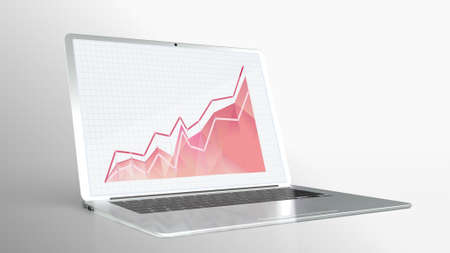 Businessman analyzing investment charts with laptop. Accounting  for use in presentations, education manuals, design, etc.