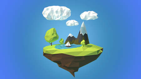 floating island: Floating island with mountain and clouds in the sky