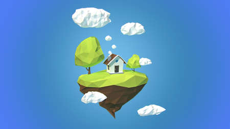 floating island: Floating island with house and clouds in the sky
