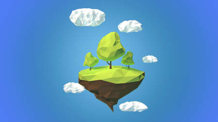 dream land: Floating island with trees  and clouds in the sky
