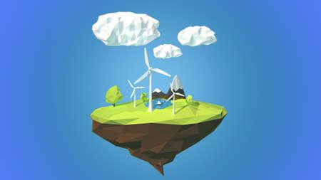 floating island: Wind turbines on floating island, low poly style. Stock Photo