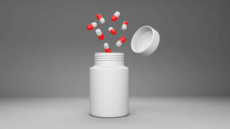 prescription bottles: Pill bottle on red background for use in presentations, education manuals, design, etc
