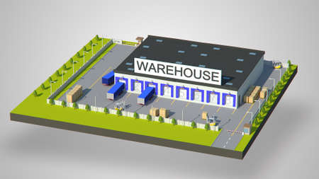Warehouse Industrial area with seating for loading and unloading, shipping and delivery, concept for use in presentations, education manuals, design, etc Stock Photo