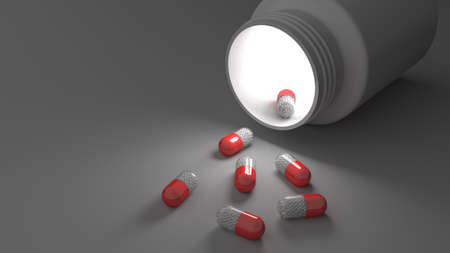 Pill bottle on red background for use in presentations, education manuals, design, etc