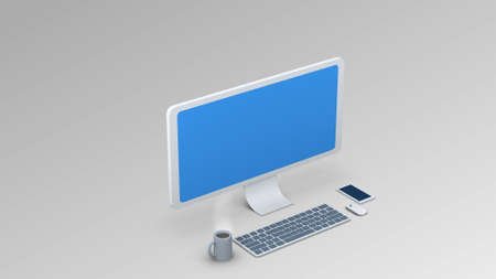 isometric computer illustration. Display  Keyboard  Mouse for use in presentations, education manuals, design, etc