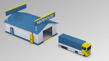 Cargo Transportation - Truck in the warehouse for use in presentations, education manuals, design, etc