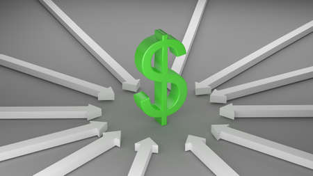 Dollar with Arrows for use in presentations, education manuals, design, etc. 3D illustration Stock Photo