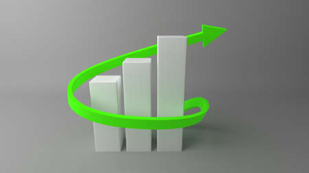 finance graphs with growing arrow for use in presentations, education manuals, design, etc. 3D illustration Stock Photo