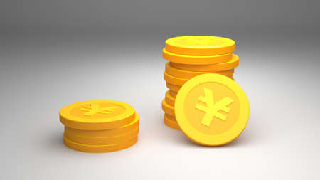 Investment, modern icons yen for use in presentations, education manuals, design, etc. 3D illustration