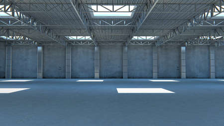 Empty warehouse. 3d illustration stone building with light 免版税图像 - 132686235