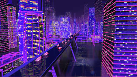 Future city neon background buildings lights roads 免版税图像