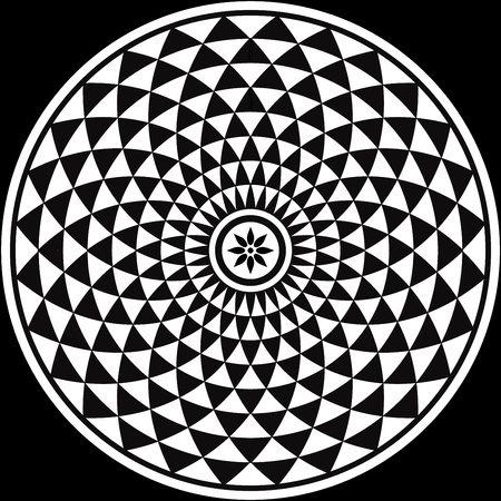 optical illusion: Black and White Circular Fractal Design