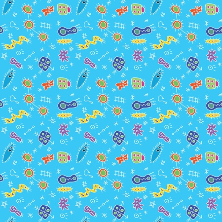 Microbe doodles pattern Vector