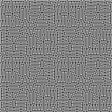 Black and white maze pattern Illustration