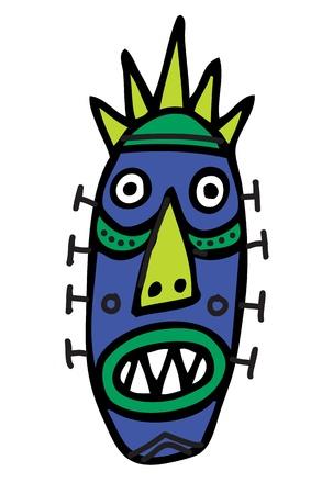 african worship: Ritual Mask Illustration