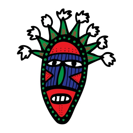 maschera tribale: Cartoon maschera tribale