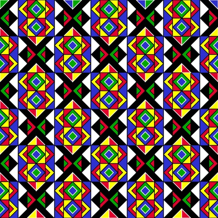 ilustraciones africanas: Colorful Geometric Pattern Tribal Vectores