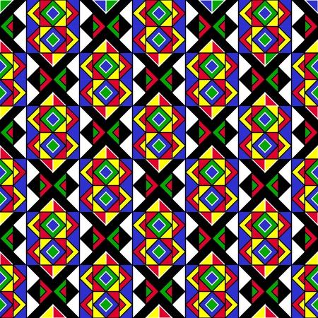 african art: Colorful Geometric Tribal Pattern Illustration