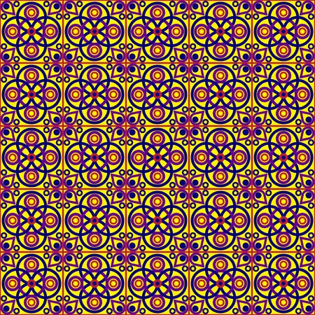 red stitches: Seamless Ethnic Tiled Pattern Illustration