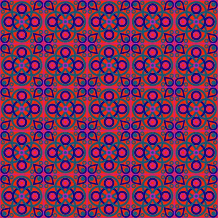 Seamless Red Hippie Pattern Vector