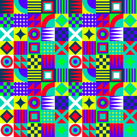nineties: Crazy Colorful Geometric Squares Pattern