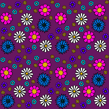 pastiche: Purple Retro Floral Pattern